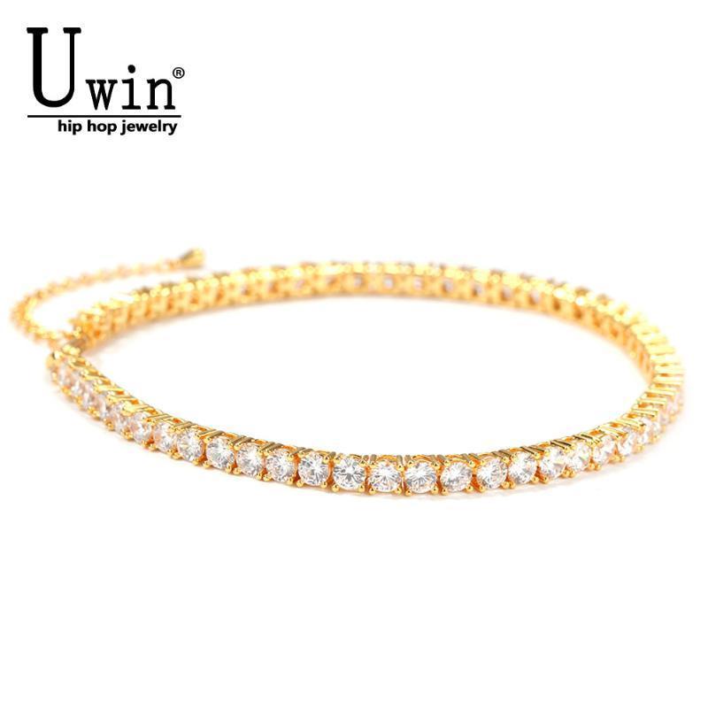 Ссылка, цепочка UWIN теннисный браслет 9 дюймов + удлинитель 4 мм со льдом из звена Bling Hip Hop ювелирные изделия для женщин мужчин