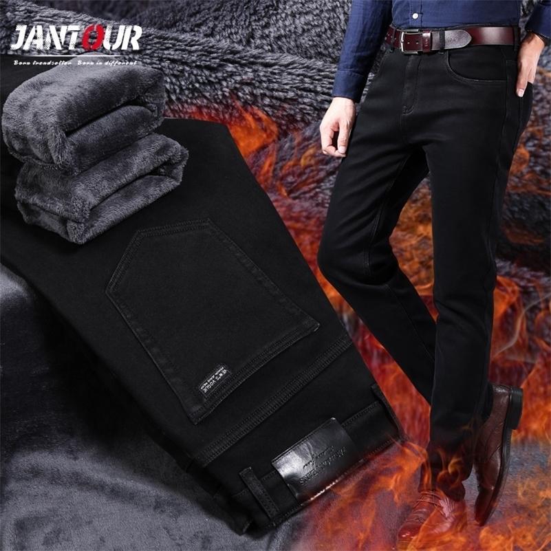 Бренд зимний мужской теплый флис джинсы растягивающиеся вскользь прямые толстые джинсовые фланельные джинсы мягкие черные брюки брюки плюс размер 28-40 201128