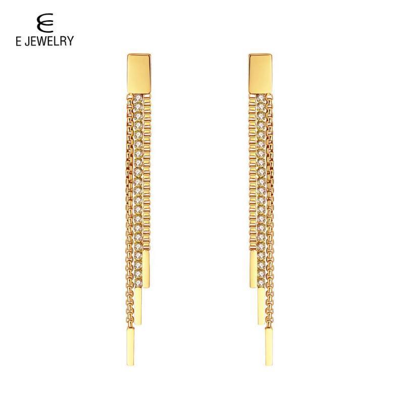 E Joyería de acero inoxidable Pendientes de cadena de cadena borla cuelga con cristal para mujeres 3 enlace de fila para joyas de boda Pendientes 2020