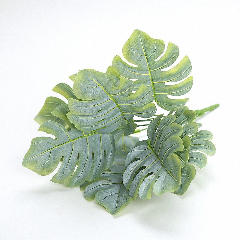 planta artificial em folha de palmeira decoração plástico Partido Folha de palmeira Hanging falso planta Decoração para casa Arch abastecer as usinas de simulação kahW #