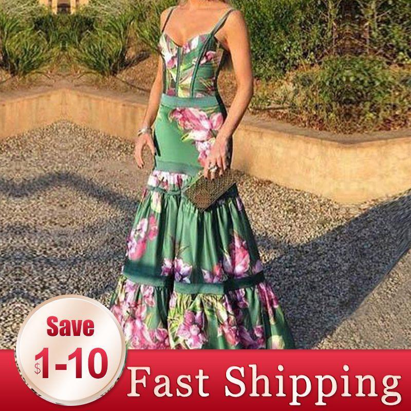 Vintacy Sexy Party Dress Women Long Dresses Elegant Evening Summer Sundress Green Floral Print Backless Boho Maxi Vestido 2020 Q1211