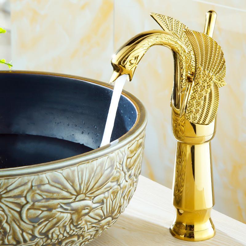 الذهبي بجعة صنبور الصلبة النحاس الرائدة الأوروبي صنبور النحاس حفرة واحدة غسل حوض مذهب شيني الذهب لون حوض A982