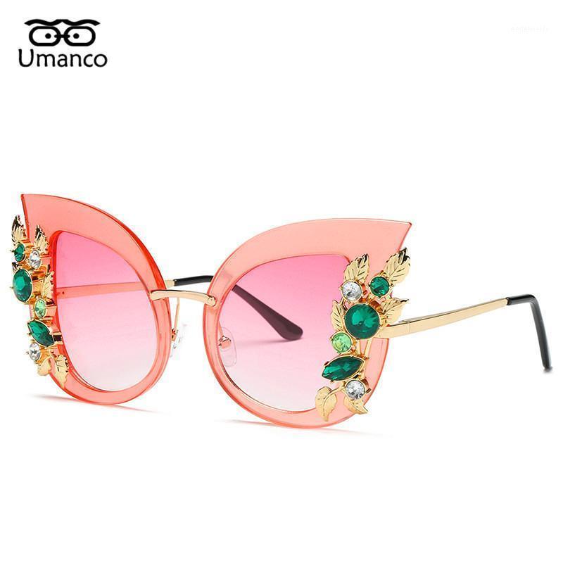 Gafas de sol umanco Flor con Encanto Rhinestone Gato Ojo Gato Mujer Vintage Moda Mariposa Gafas de sol Femenino Retro Metal EyeGlasses1