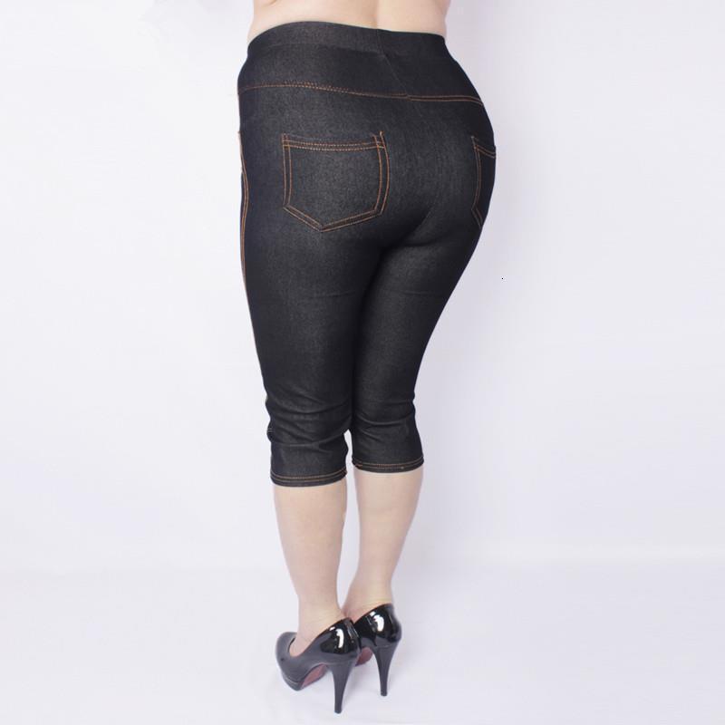 Primavera y el verano de alta elástico atractivo de imitación de los pantalones vaqueros de las polainas longitud de la rodilla pantalones de cintura alta de gran tamaño 5XL imitación Denim Legging
