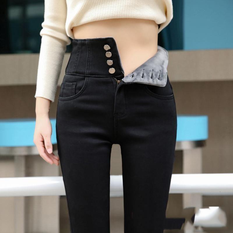 стрит высокой талии утолщение тощий денима брюки женщин плюс размер теплый стрейч карандаш джинсы бархатные джинсы тонкие талии мамы