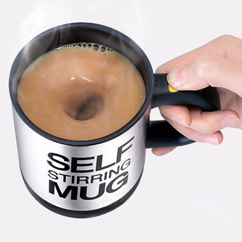 400 ملليلتر الذاتي اثارة القدح الفولاذ المقاوم للصدأ مزيج القهوة الشاي كوب مع غطاء التلقائي الكهربائية كسول حليب القهوة خلط السيارات التحريك القدح T200506
