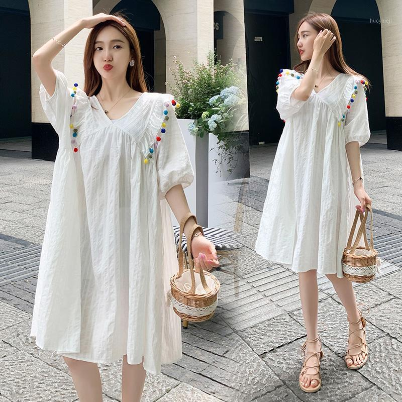 Maternity Dresses 5866# Clothes Summer Cotton Short Sleeve Loose Plus Size Dress For Pregnant Women Pregnancy Clothes1