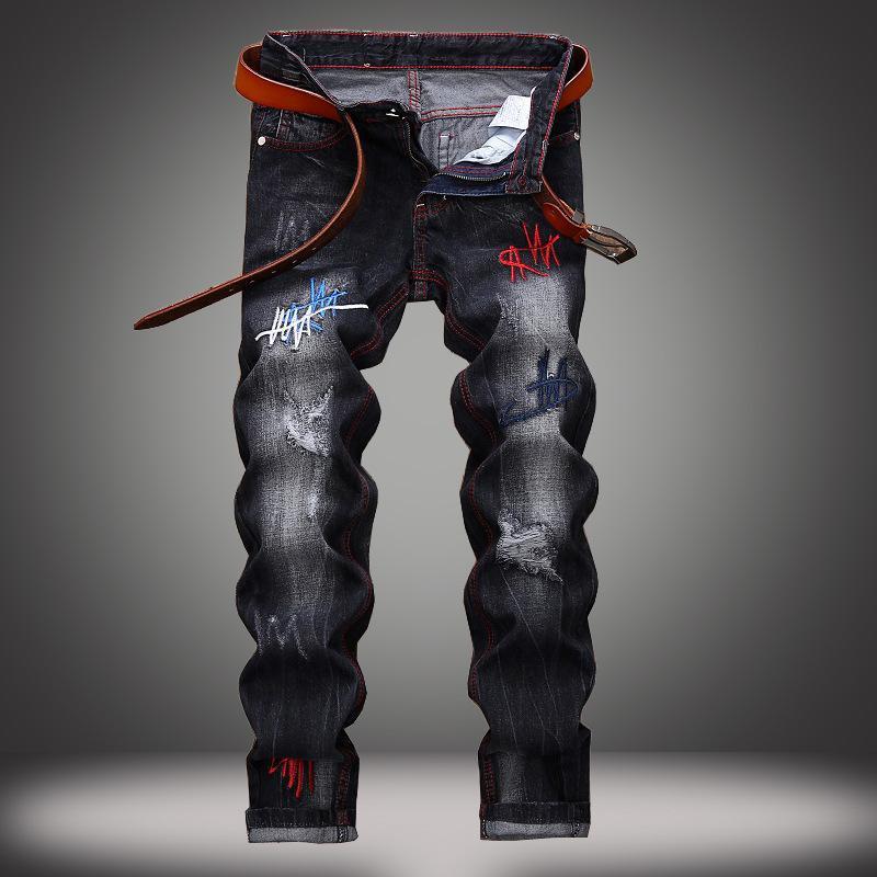 1J nuovi europei e dei jeans del foro americani pantaloni uomini alla moda del commercio estero tubo diritto della personalità degli uomini Nero