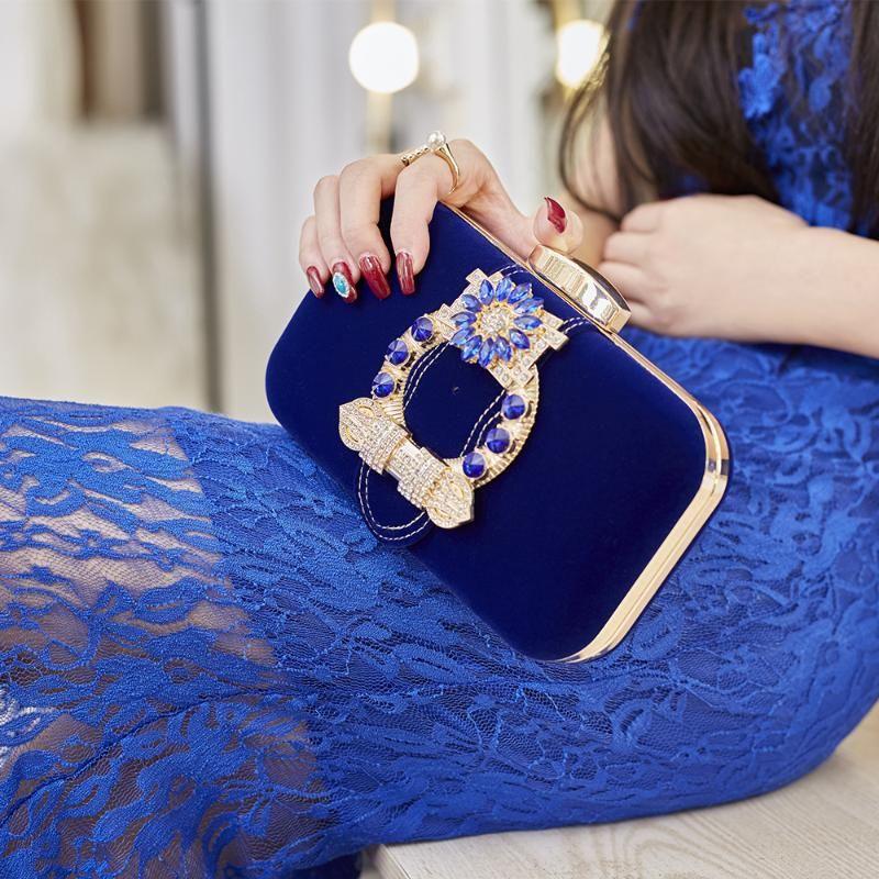 Vintage Blue Black Velor Prithes Borsa Borsa Mini Flap For Phone Bride Festa di nozze Borsa da sera Flower Rhinestone Messenger