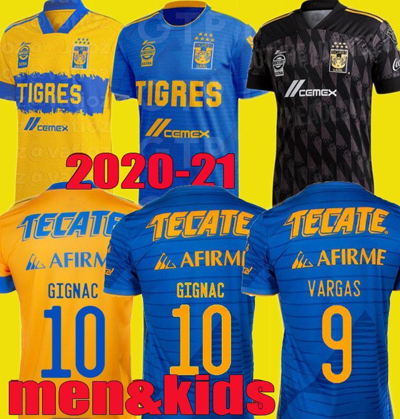 Erkekler Çocuklar 2020 2021 UANL Tigres Gignac Futbol Formalar Kitleri 19 20 21 Vargas Camiseta Maillot Eve Uzakta Üçüncü Pizarro Meksika Futbol Gömlekleri