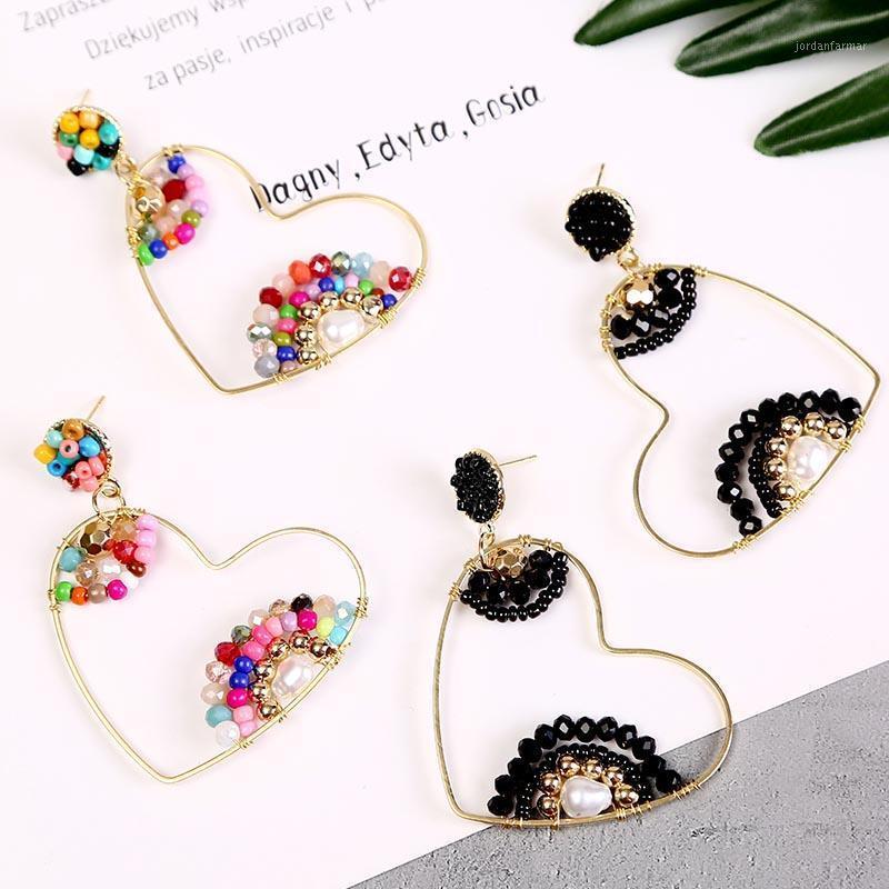 Люстра свисалка модные геометрические ручной работы из бисера жемчуга Серьги сердца для женщин BOHO Multi Color Acrylic серьги корейских ювелирных изделий GIF