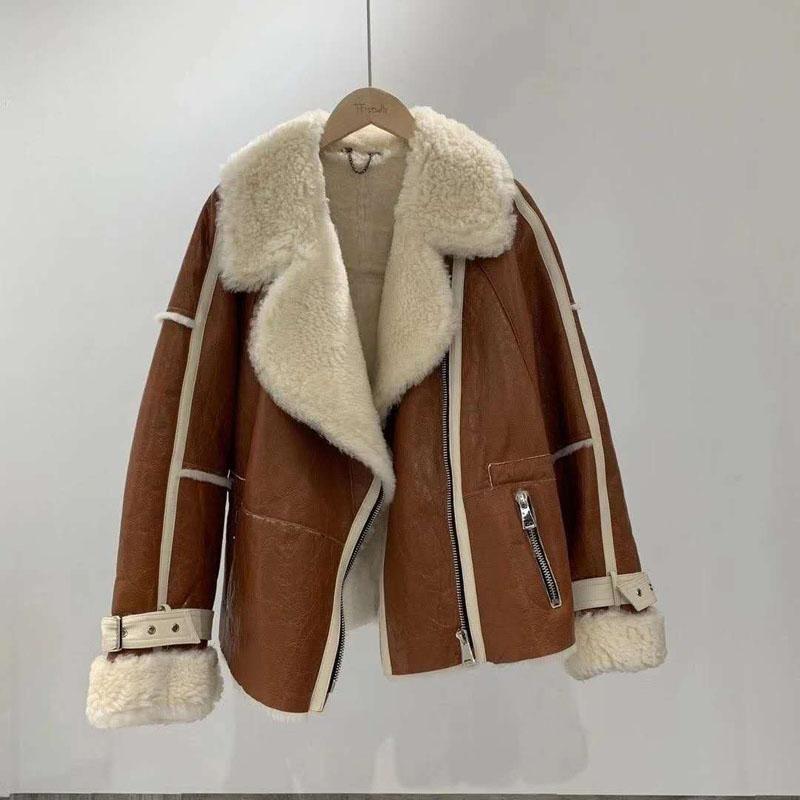 Naturalne prawdziwe wełna owce wełna podwójna futra damska płaszcz zima krótki płaszcz obrócony kołnierz gruby ciepły moto w stylu rowerzysta
