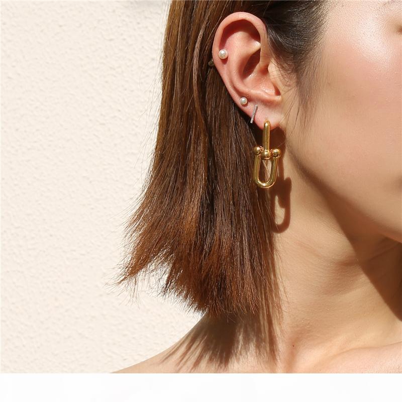 2020 Frauen Punk Ohrringe Vintage Metall Link Kette Ohrringe Für Frauen Hiphop Ohrring U Kette Brincos Gothic Schmuck Gold Ohrringe
