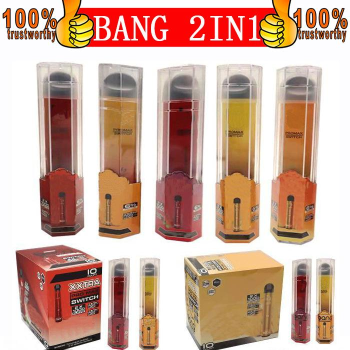 Bang Pro Max Switch Monouso VAPES Monouso POD Kit dispositivo POD Locale 1000 + 1000 Sfuffs Bang XXL 2 in 1 Vai monouso e sigarette 2000Puffs