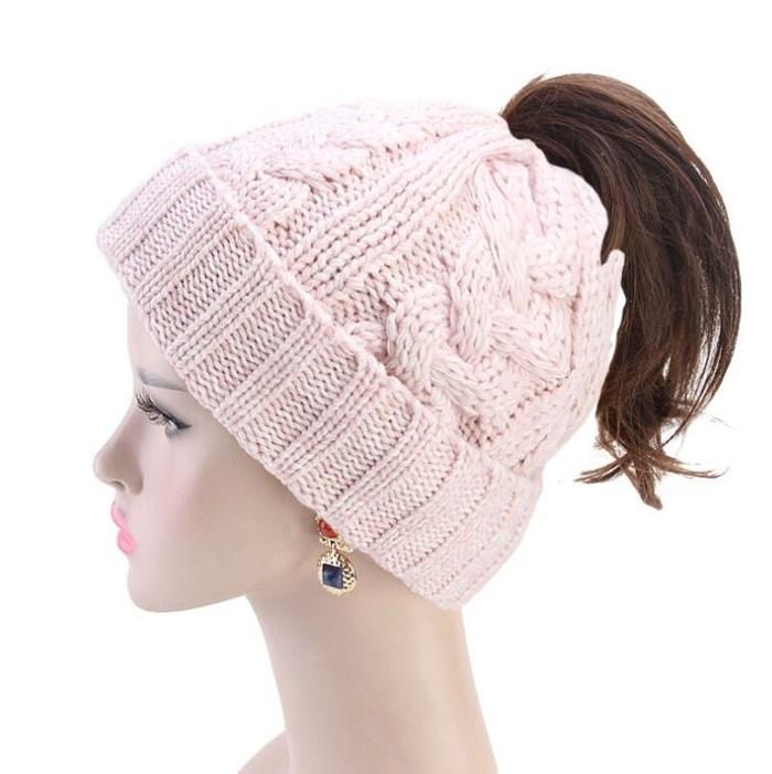 Lady Ponytail Sombreros Moda Hecho de moda Goreie Mujeres Moble Monte Skull Cap Tapa Cálido Crochet Hats Knitting Horsetail Cap Outdoor Hwa2108