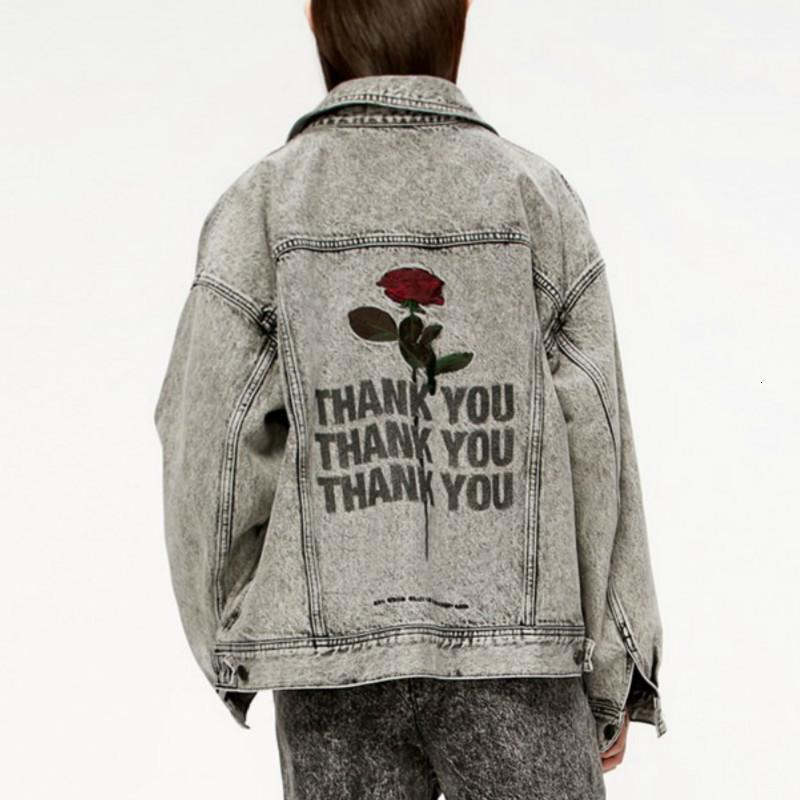 Kadınlar için yüksek kaliteli parça vintage sıkılmış yukarı harfler sonbahar streetwear serin ceket giyim j2xn