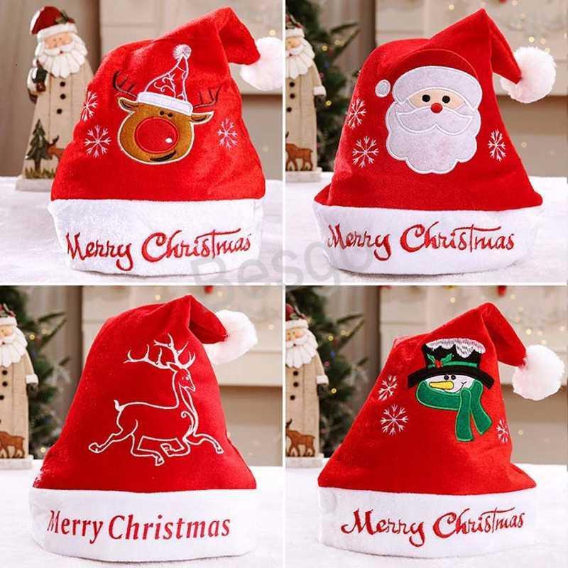 Dibujos animados Santa Claus Año Nuevo Traje adulto rojo blanco y gorras Decoración navideña Snowman Hat BH1681 TQQ