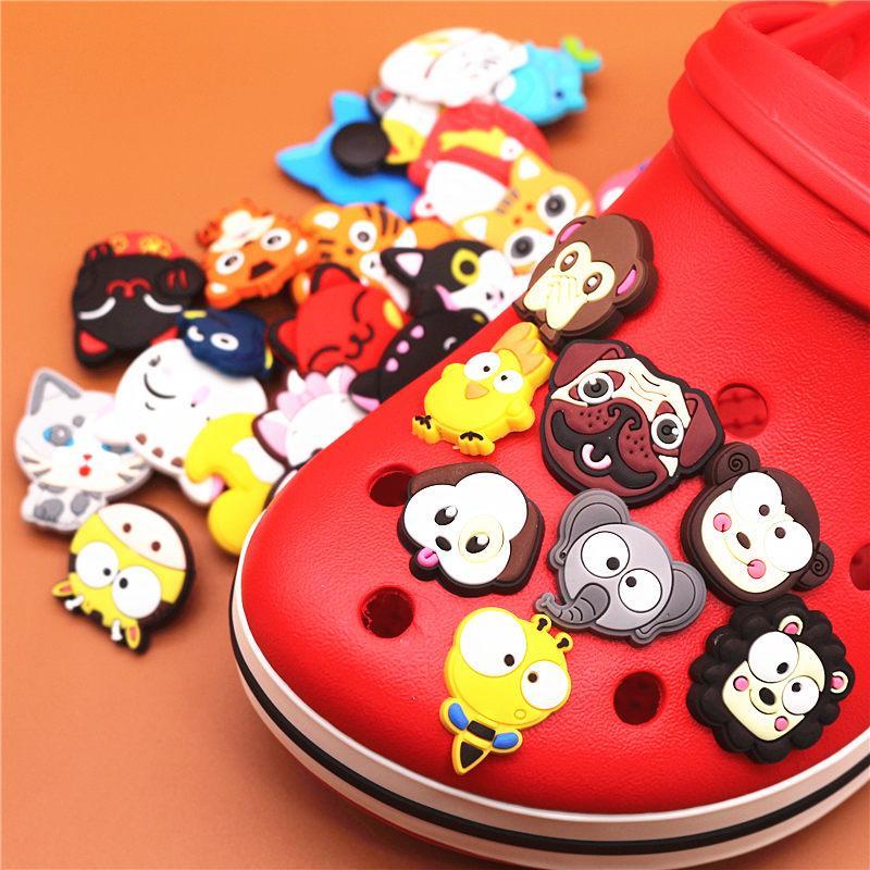 동물 PVC 구두 매력 신발 버클 액세서리 귀여운 고양이 강아지 얼굴 구두 장식 키즈 파티 X 마스 1 개 단일 판매