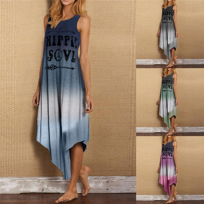 Women Summer Dresses Casual Hippie Soul Letter Print Irregular Hem Loose Sleeveless Gradient Color Long Dress Plus Size