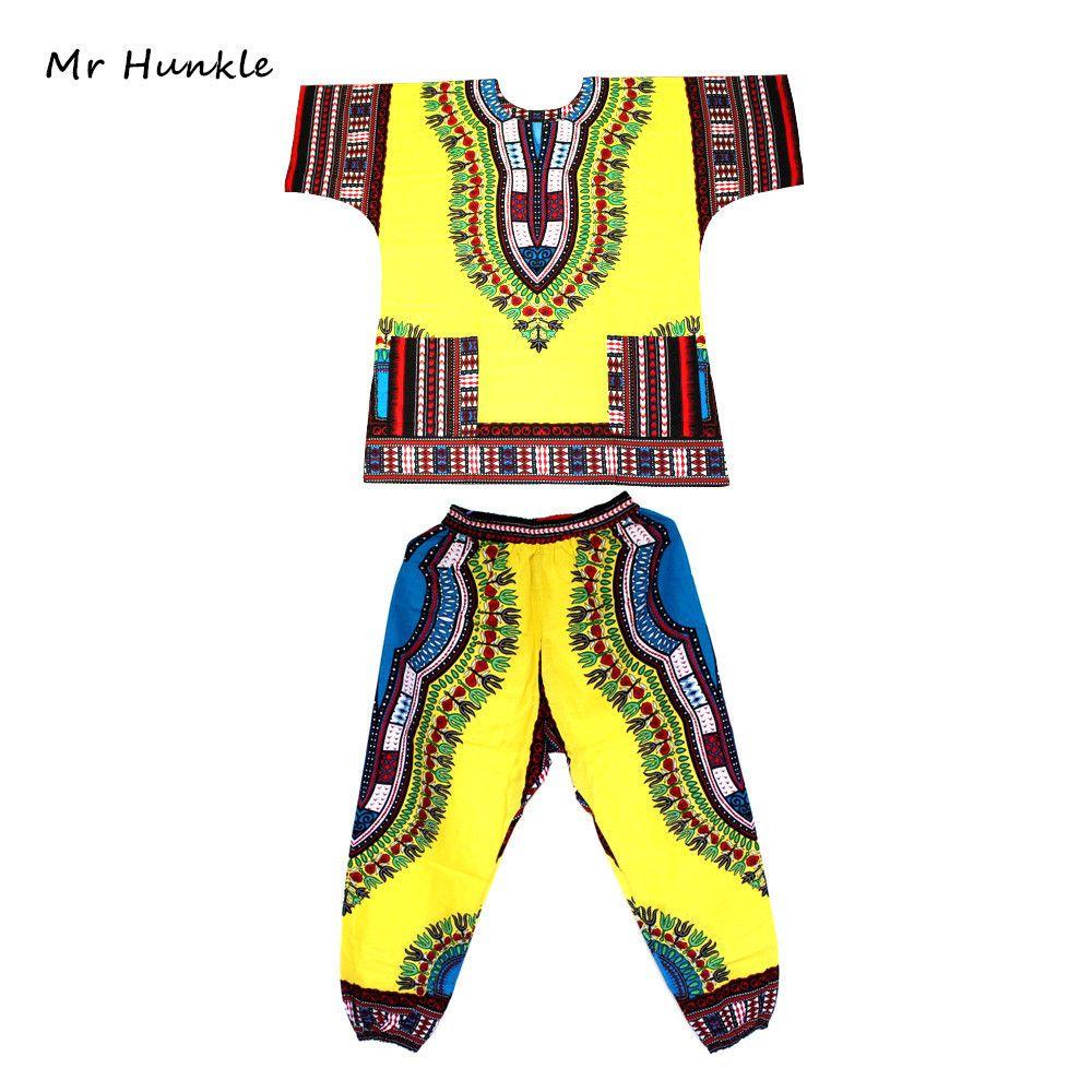 M. Hunkle Stylisme Dashiki Set Printted africaine Dashiki Robe et pantalon pour les femmes et les hommes 1022