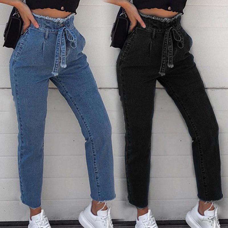 Mulheres jeans vintage alta cintura cinto esticar magro denim feminino borla lápis calça calça slim zipper casual push up calça