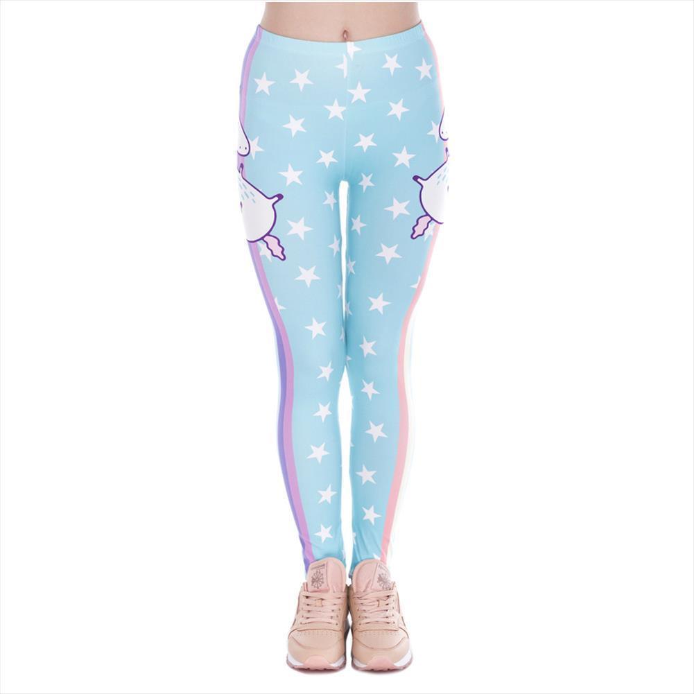 Moda Tasarımı Kadınlar Legins Unicorn Yıldız Baskı Rahat Legging Kadın Yüksek Bel Casual Tozluklar Drop Shipping