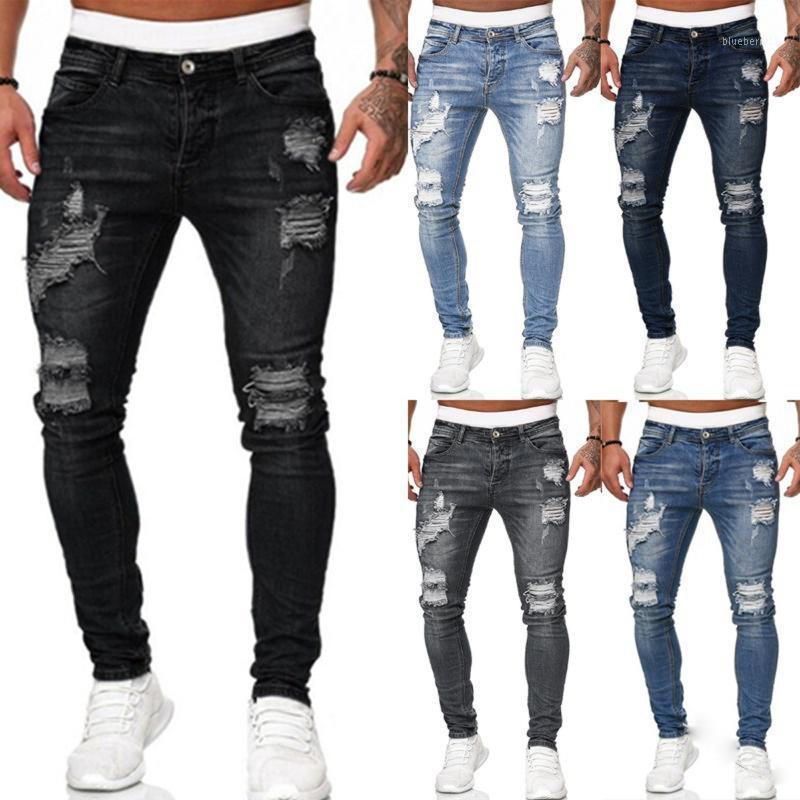 Men's Jeans Mens Stretch Skinny Ripped Sweatpants Destroyed Holes Slim Denim Pants Summer Autumn Casual Outwears