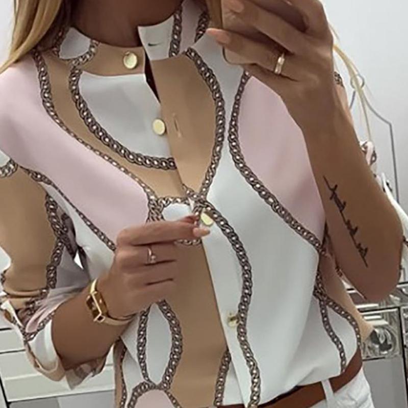 Zincirler Düğme Tasarım Casual Bluz Kadınlar Uzun Kollu Workear Şık Ofis Bayanlar Gömlek üstleri ve bluzlar Womens Tops yazdır