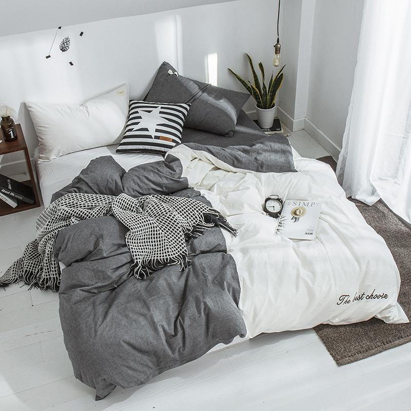 Простая полоса современного стиля студент ребенок взрослый постельное белье 100% хлопок полная королева королевский размер одеяла чехол одеяла чехол одеяла