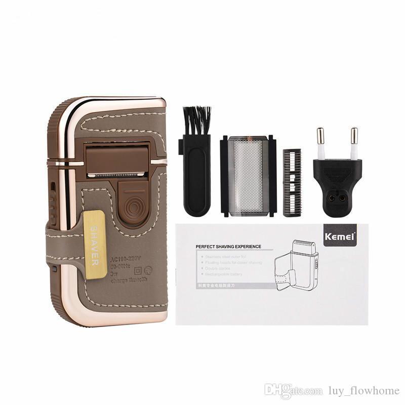 2 w 1 Akumulatorowie Mężczyźni Elektryczne Golenia Razors Vintage Skóra Zawijająca Podróż Wąsy Broda Trymer Maszyna do golenia Trimmer