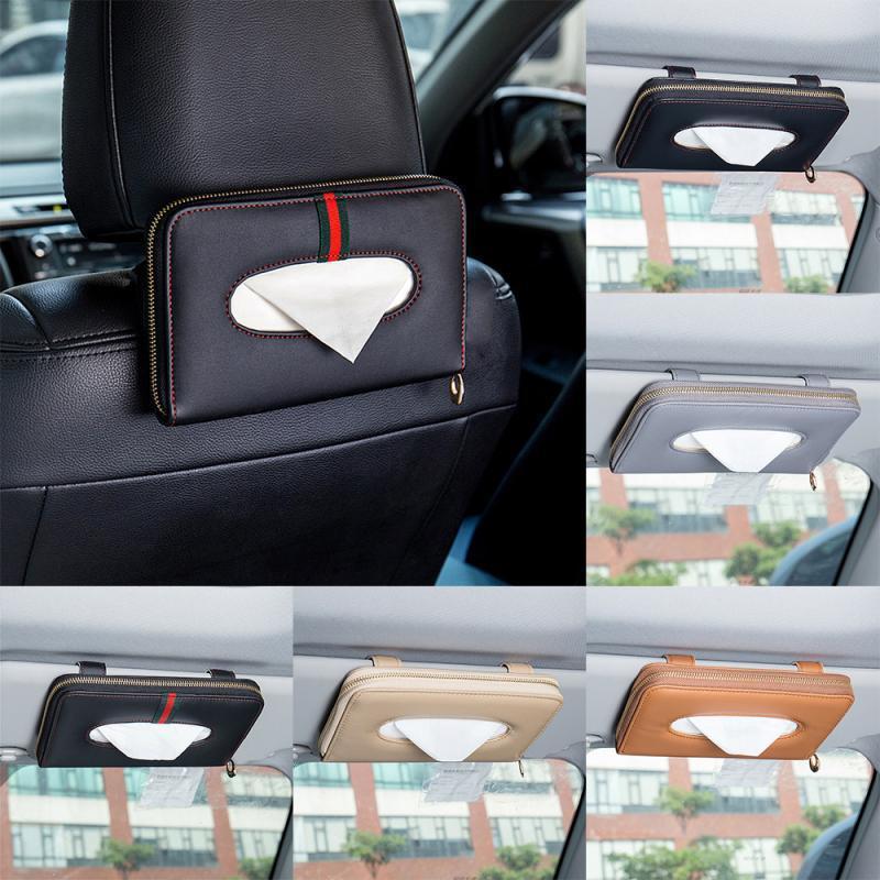 Neue Auto-Sonnenblende Tissue Box Car Papiertuch hängende Art Hochwertige Ledersessel zurück Gewebebeutel Auto-Innenraum-Accessoires