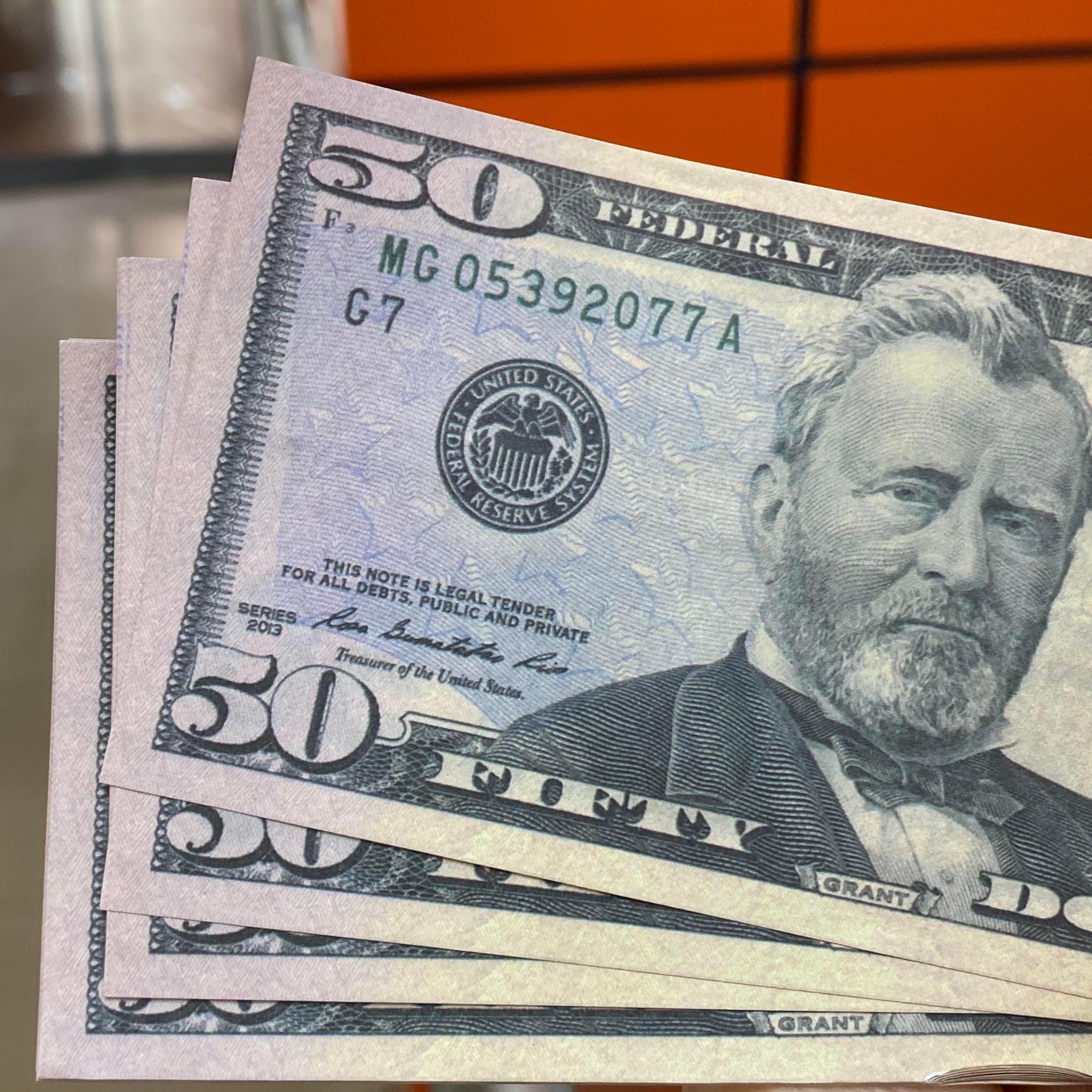 Faux Money Money Billets de billets de jouets 50 Note Vills Sacs-D5 USD Bar Bags Sacs Designers Documents de la Banque Paper Designers Prop Prix NuIQL