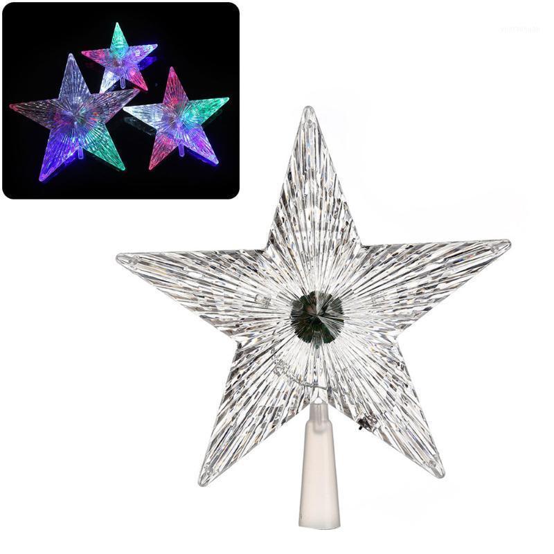 1 unids Shiny Star Navidad árbol superior Navidad decoración transparente LED luminoso Treetop Treetop Stars Festival de fiesta de Navidad Ornamento de la casa1