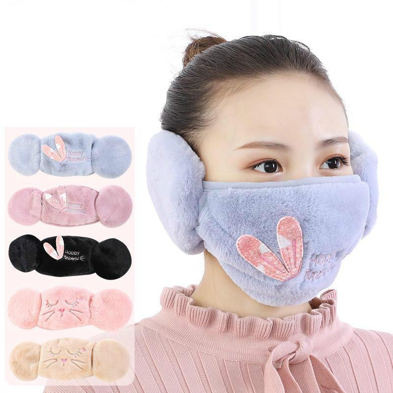 2 em 1 máscaras face orelha aquecedor de inverno máscara de natal máscara fria earmuff frio para as mulheres máscaras protetoras FY9228