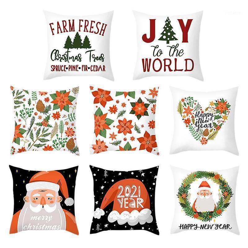 Noel Yastık Kılıfı Yastık Kapak Mektup Desenli Kanepe Yatak Ev Dekor Yastık Kılıfı Yastık Örtüsü Kerst Decoratie1