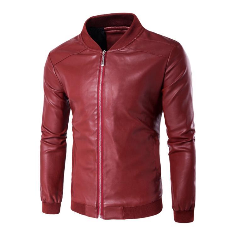 Otoño invierno nuevo ocio para y color puro color locomotora cuero jaet