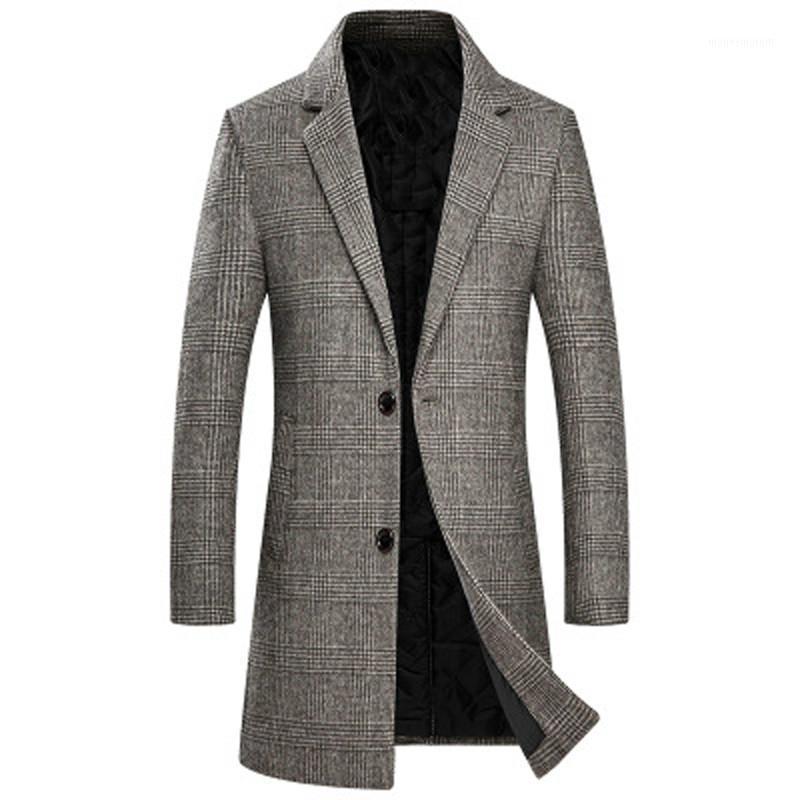 Giacca in lana a quadri da uomo Uomo Casual Giacca lunga Casual Giacca lunga moda calda antivento slim fit risvolto coat maschile UE taglia MT0051