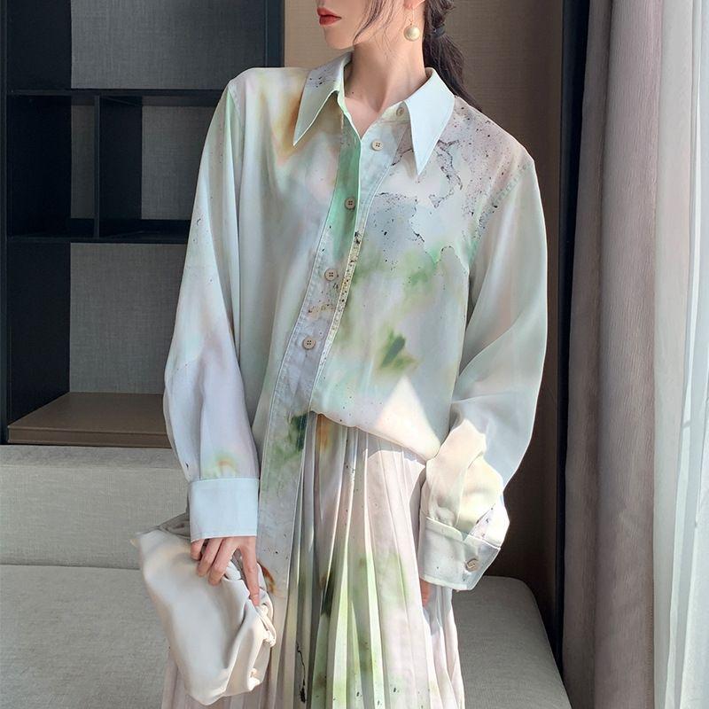 Curación mago de Oz 2020 verano nueva + suelta largo manera camisa plisada falda plisada falda de la manga de la camisa para las mujeres xGWKy