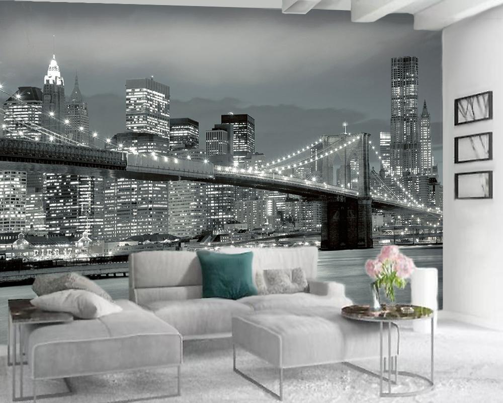 Moderne Peinture murale 3d Fond d'écran Belle Ville Paysage romantique Paysage décoratif 3D Peinture murale Fond d'écran