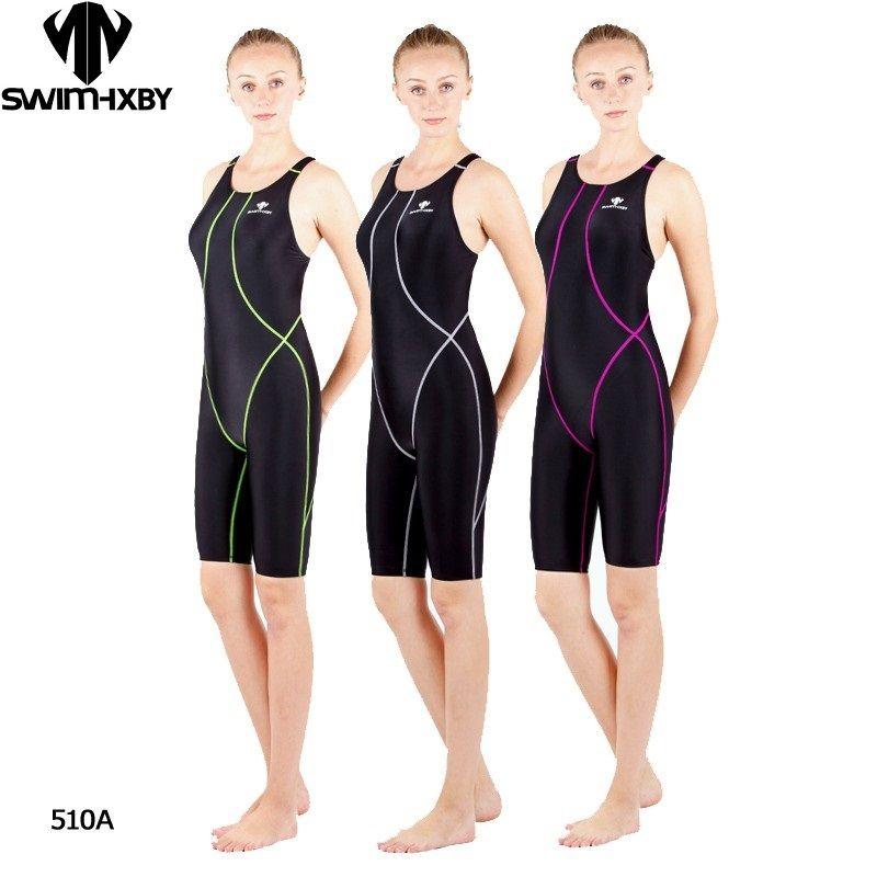 Hxby المهنية الركبة المنافسة ماء طول الكلور النساء المقاومة ملابس السباحة ملابس السباحة shaxkin 5XL