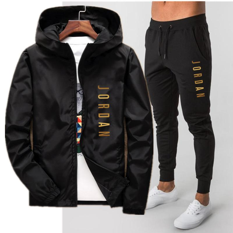 new casual suit 2020 spring autumn windbreaker pilot hooded jacket men's