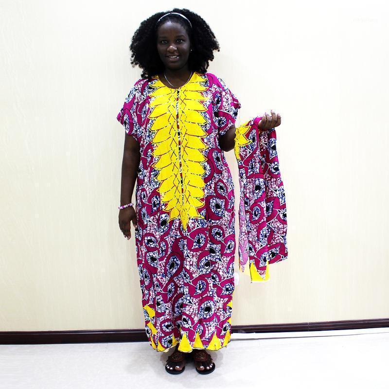 2019 New Fashion African Dashiki Casual Short Sleeve Print Long Dress For Ladies1