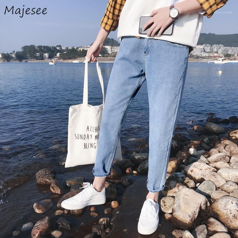 Мужские джинсы сплошные прямые свободные шикарные подростки высокого качества BF Harajuku джинсовый ковбойский досуг мужчина модная лодыжка длина мягкая новая