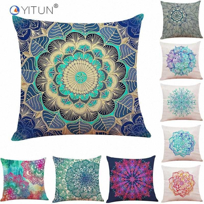 YITUN 45 * 45cm Funda de almohada floral Coloful tiro fundas de almohada cuadrado de impresión Almohada Sham arpillera caso para la sala de estar 1F0k #