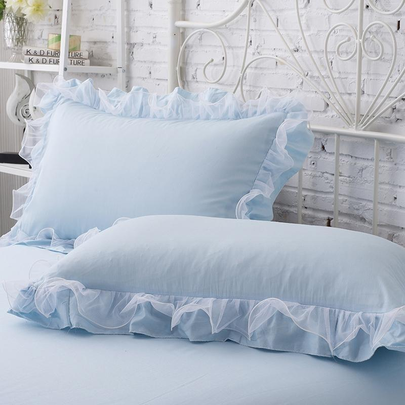 2pcs Princess Pizzo Pizzo Pizzo Poliestere Lotus Leaf Leaf Girls Room Decorative Pillow Case Color Solid Colour Blowound Bedrough Cover Cuscino Y200104