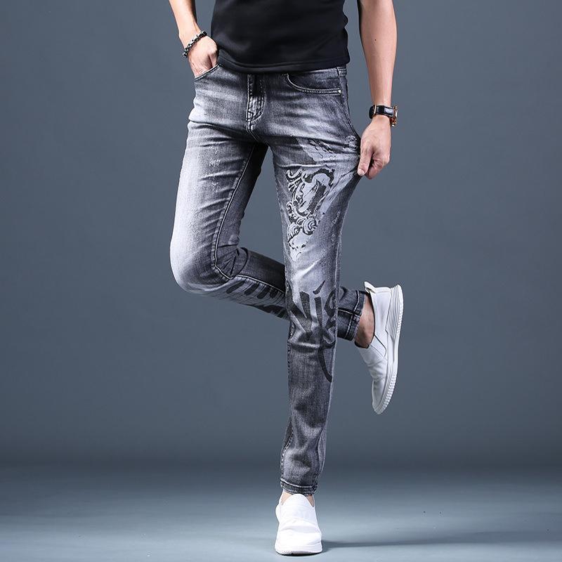 Pantalones vaqueros para hombre 2021 Hombres Retro Pantalones Grises Impresos Pequeños Pequeños Piez