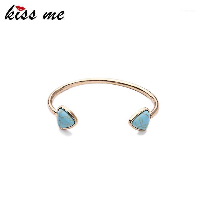 Bangle KISS ME Alloy Retro Bracelets & Bangles Design Resin Synthetic Stone Triangle Open Women Accessories1