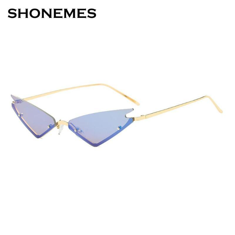 Nuovo Rimless Occhiali da sole donne CatEye vetri di Sun Fashion Design Piccole Donne forte cornice angolo Occhiali