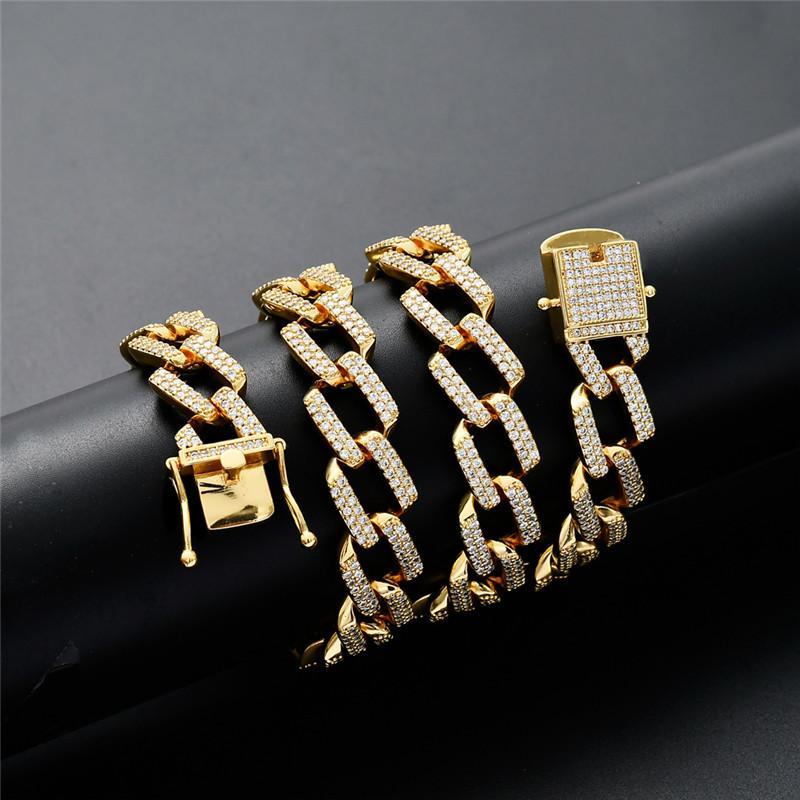 14 мм Майами Кубинские цепи Ожерелье для мужчин Золотой Серебряный Цветный Закрытый Хип-Хоп Ледовый Вымощенный Мощеный Bling CZ Рэпер Ожерелье Ювелирные Изделия