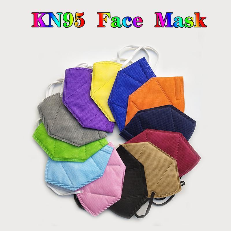 KN95 Mask Multicolor Polvo a prueba de polvo 5 Capas de protección 95% Filtración Mascarilla de cara No tejido Negro KN95 Mascarillas faciales